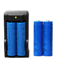 4PCS 3.7v 6000mAh 18650 Rechargeable  Li-ion Battery+Dual Charger USA-Deep Blue