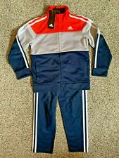 adidas Little Boys 3 Stripe Full Zip Jogger Track Suit Set size 3T 4T 6 7