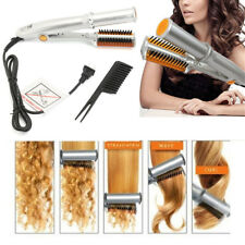 2 IN 1 Pro Hair Straightener Curling Curler Ionic Styler Ceramic Hot Brush Flat