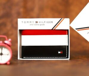 Mens Leather Wallet 'Tommy Hilfiger' Black,White,Red Bifold,Card Slot,pass case
