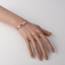 Rose gold plated Oval shaped Band with Demi lined moving Cubics cuff bracelet