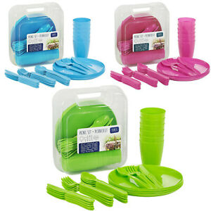 31 Piece Camping Picnic Plastic Utensil BBQ Set Knives Fork Spoon Cups & Plates