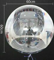 3x XXL 60cm Helium Bubble Ballons Klare Luftballons Kugelrund Hochzeit Deko NEU