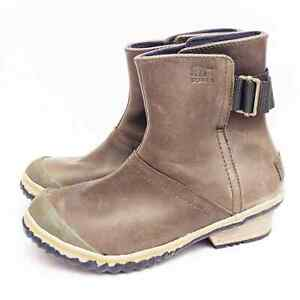 Sorel Leather Slimboot Pull on Ankle Boots Women's Size 6