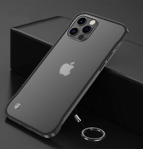 For iPhone 12 Pro Max Mini 11 Pro XS XR 8 7 Matte Frameless Ring Clear Hard Case