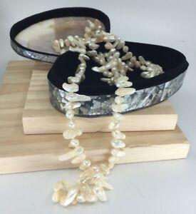 Gorgeous Keshi Reborn Flapper Length Pearls 120cm W/Large Shell Velvet Box