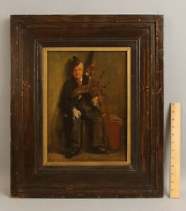 Antique Signed Impressionist Portrait Oil Painting, Scottish Man w/ Bagpipes, NR