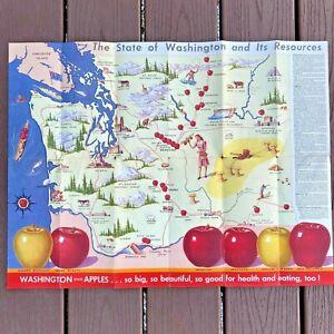 Vintage 1940s Washington State Apple A Day Map Folding Color Brochure Ad BK18