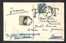 TREVISO ITALY TO FRANCE POSTAGE DUE STAMPS WWI MILITARY POSTCARD 1918