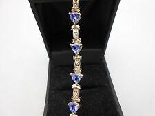 Gorgeous Heavy 14k Yellow Gold Diamond & Trillion Tanzanite 6CTW Tennis Bracelet