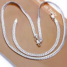 925Sterling Silver Jewelry 5MM Sideways Men Women Necklace Bracelet Set SY085