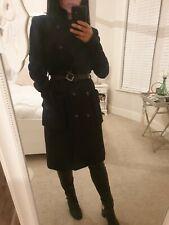 H&M Black Wool Double Breasted Coat Size 8 Belt Work Smart RRP £59.99 Stylish