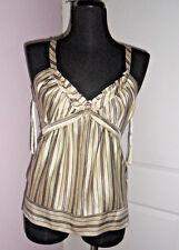BCBGMaxazria Women IVORY w/Mix Striped,Silk,Strap Fashion Top,S,Exclusive,$158.