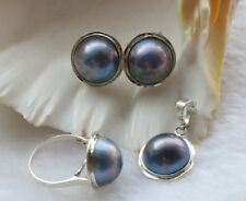 Luster Natural 19mm Blue Mabe Pearl Earrings Pendant Rings set 925sivler #f1734!