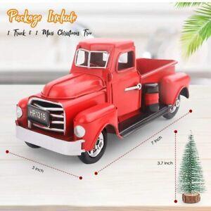 Vintage Metal Classic Pickup Red Truck w/Tree Farm House Rustic Decor Christmas