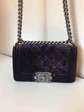 Pre-owned Chanel small Le Boy Velvet Plum / Purple Cross Body Bag