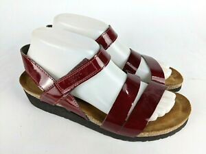 NAOT Krista Red Patent Leather Slingback Sandal Shoes Women's Size: 40 / 9