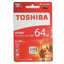 64GB TOSHIBA EXCERIA MicroSD TF 4K U3 90MB/S Speicher karte f/ Samsung Huawei