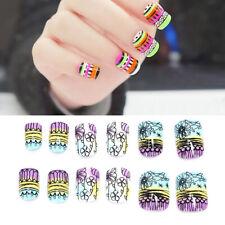 24pcs Flower Colorful False Nails Art Acrylic Full Cover Tips Manicure Glue Dr