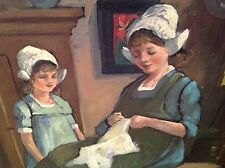 vintage estate original oil painting Dutch mother and daughter by Binnendijk 88