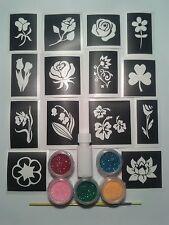 Flower themed glitter tattoo set incl. 30 stencils + glitter + glue  girls