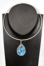 Gold Goddess Blue Druzy Quartz Power Pendant with Gold Collar Necklace