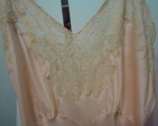 "Vtg Pink 100% Pure Silk ""Heavenly Silk Lingerie"" Fischer Long Gown Beige Lace"