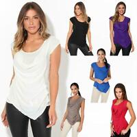 Womens Ladies Cowl Neck Top Sleeveless Silk Drape T Shirt Low Cut Back Party
