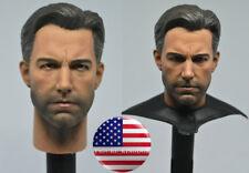 1/6 Ben Affleck Batman Head Sculpt with Neck Cape For 12'' Hot Toys Male Figure