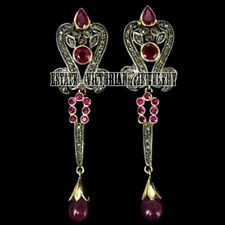 Studded Silver Antique Lovely Earring Jewelry 2.36Cts Pave Rose Cut Diamond Ruby