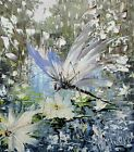 Hand-painted dragonfly water flower canvas oil painting wall art hand-made