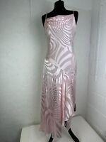 Debut Women's Silk Dress UK12 Pink Cowl Neckline Occasion Asymmetric Pretty E639