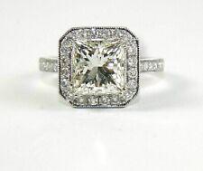 3,98 CT Si1 Prinzess Schliff Diamant Solitaire Verlobungsring 14k Weiss Gold EGL