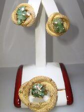 VINTAGE B.S.K. GOLD MESH & JADE PIN & MATCHING EARRINGS!
