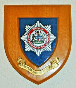 Devon Fire and Rescue Service wall plaque shield crest badge brigade Devonshire