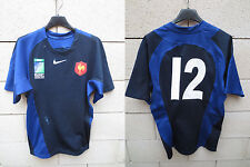 Maillot rugby QUINZE de FRANCE porté n°12 IRB World Cup sevens 2009 worn shirt L