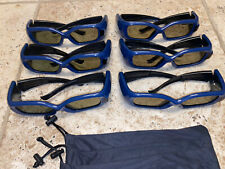 SIX PAIRS True Depth 3D Glasses for Sharp 3D TVs Blue Black Includes Sleeves