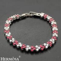 "Royal Blood Red Ruby AAA Genuine 925 Sterling Silver Bracelets 7"""