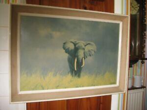 David Shepherd Vintage Framed Elephant print Bought in 1967 'Wise Old Elephant'