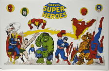 MARVEL SUPER HEROES Print Jack Kirby art Avengers Spider-Man Dr Strange FF