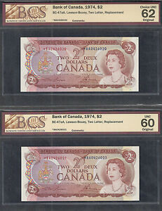 1974 *BA $2.00 BC-47aA BCS UNC-62 SCARCE Consecutive ASTERISK REPLACEMENT NOTES