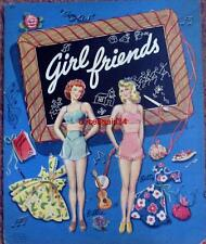 Vintage Uncut 1944 Girlfriends Paper Dolls~#1 Reproduction~8 Pages Clothing~Rare