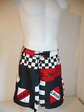 "Quiksilver Men's Black Red White geo Board Shorts waist sz 33-34"""