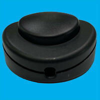 Black 2/3 Core 2A Foot Button Lamp Light Round Floor Inline On/Off Switch, 65mm