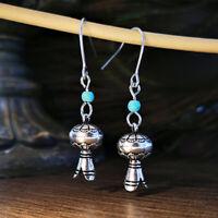 Vintage 925 Silver Turquoise Long Earrings Ear Hook Dangle Drop Woman Wedding