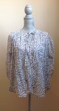 French Connection Cotton Peasant Blouse - Natural/Blue - Size 6