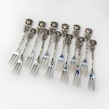 German Rose Handle 12 Pastry Forks Set 835 Standard Silver
