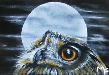 "Original Aceo Painting Miniature ""The Owling"" Wildlife Owl Bird Acrylic Painting"