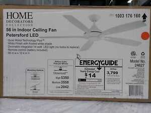 Home Decorators Collection White Ceiling Fan 56 in Indoor Light Remote Control