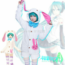Vocaloid Hatsune Miku Pajamas Sleepwear Cute Rabbit Ear Hoodie Cosplay Costume